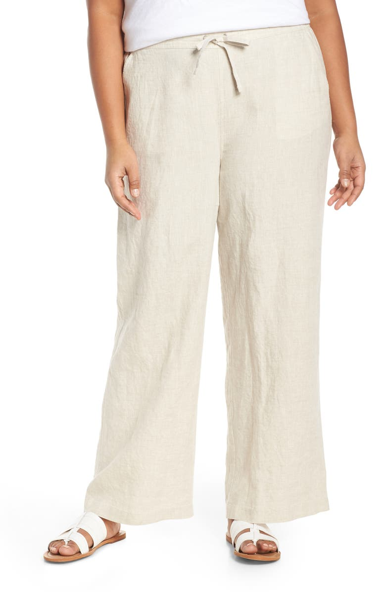 VINCE CAMUTO Drawstring Waist Linen Pants, Main, color, NATURAL