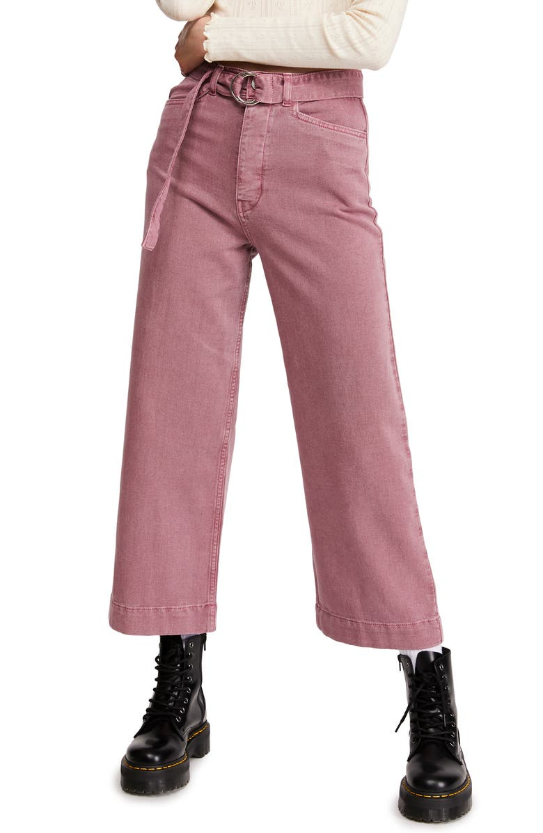 BDG URBAN OUTFITTERS Belted Flood Jeans, Main, color, PINK