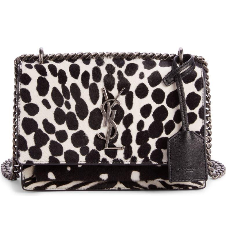 SAINT LAURENT Mini Sunset Genuine Calf Hair Shoulder Bag, Main, color, PONY