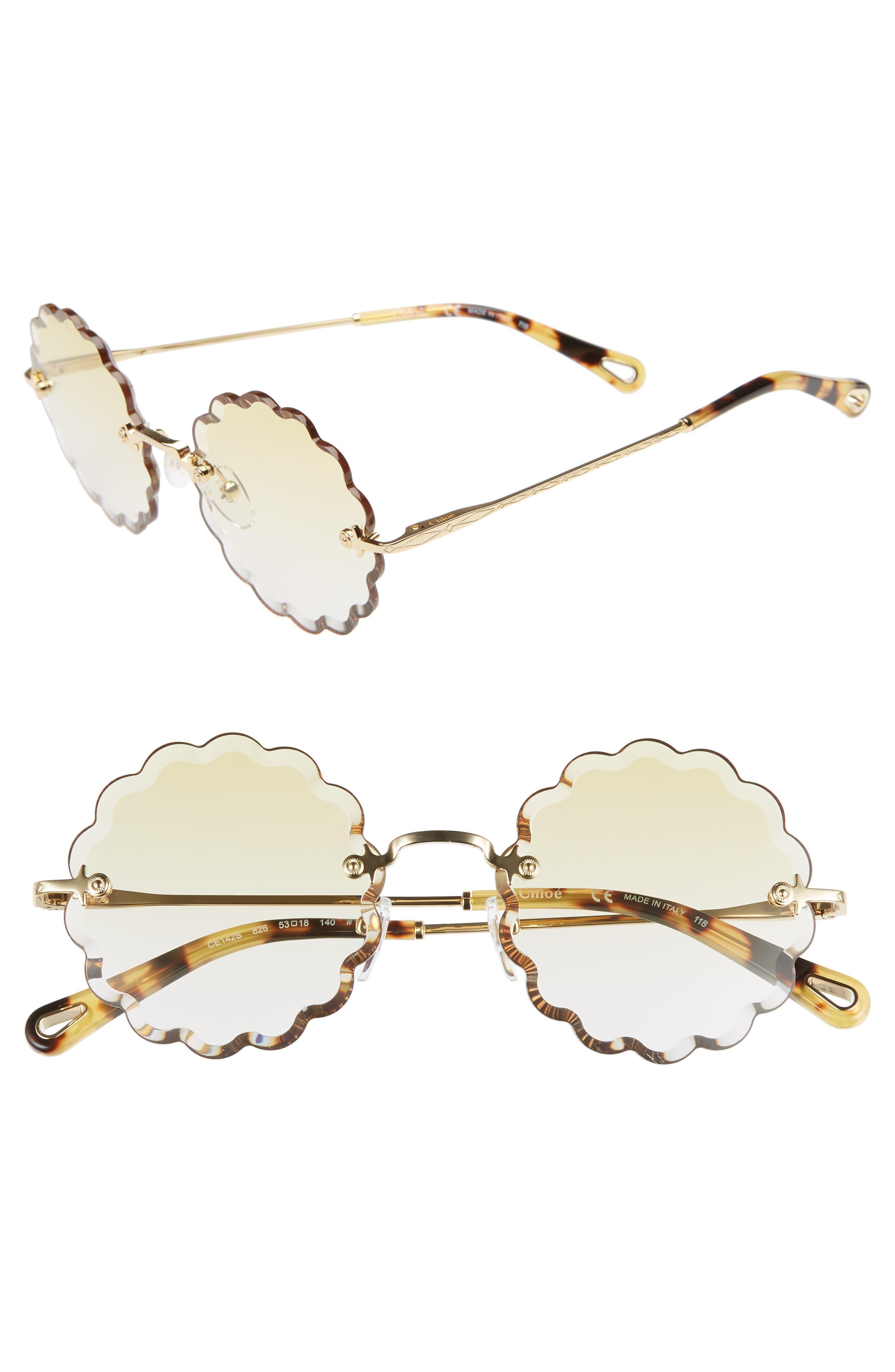 Chloe Rosie 5m Scalloped Sunglasses - Gold/ Gradient Yellow