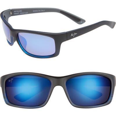 Maui Jim Kanaio Coast 61mm Polarizedplus2 Sunglasses - Matte/ Blue/black Stripe