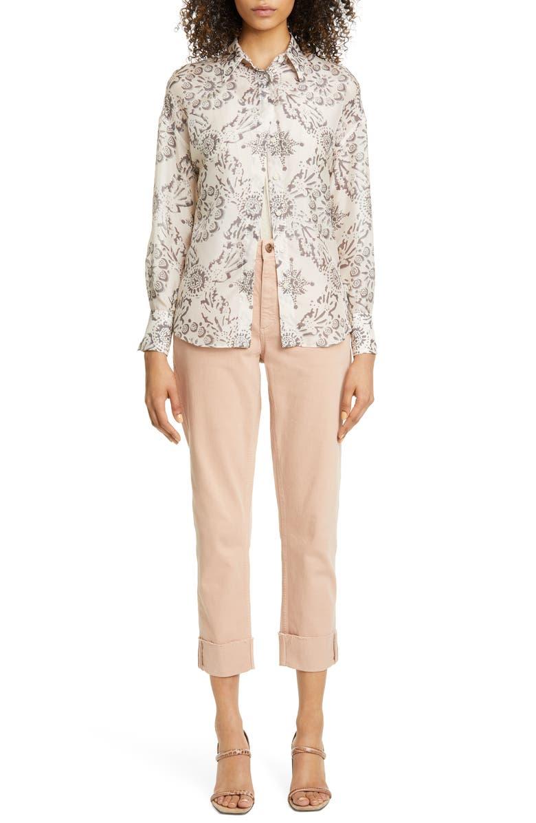 BRUNELLO CUCINELLI Garment Dyed Straight Leg Jeans, Main, color, ASH ROSE