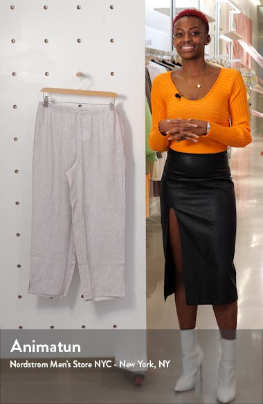 Check Organic Linen Crop Straight Leg Pants, sales video thumbnail
