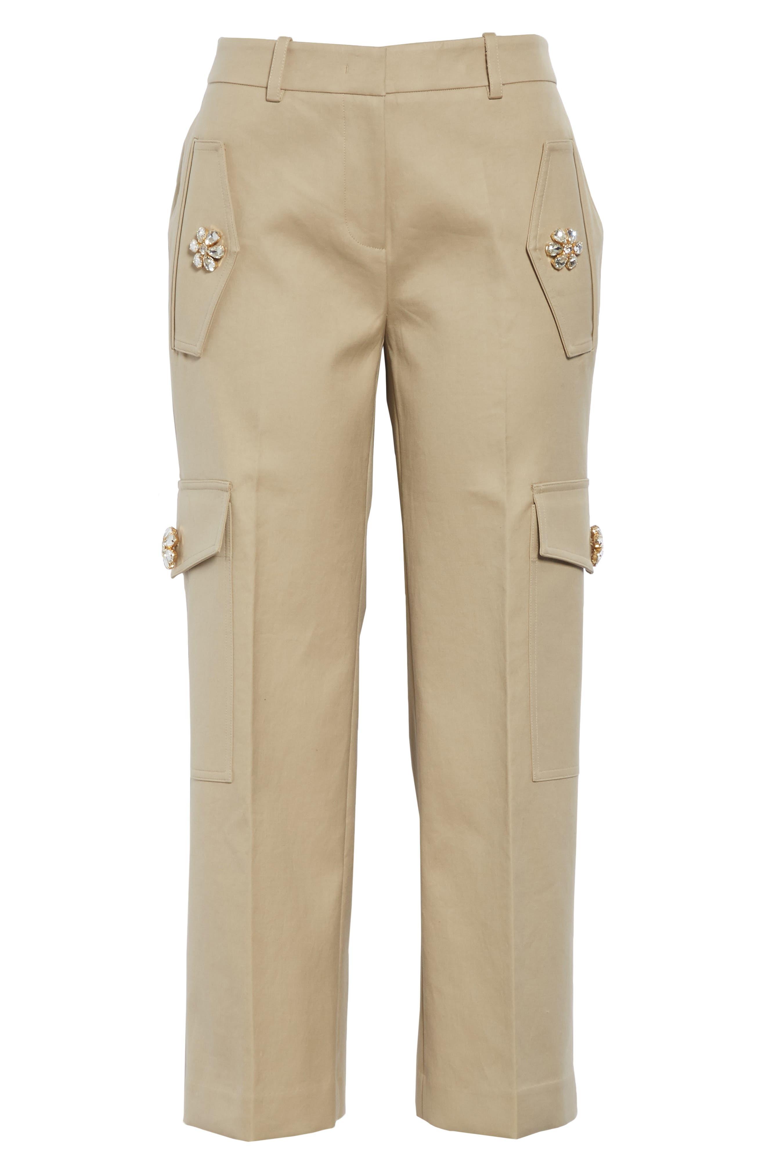 ,                             Embellished Crop Cargo Pants,                             Alternate thumbnail 6, color,                             SAND