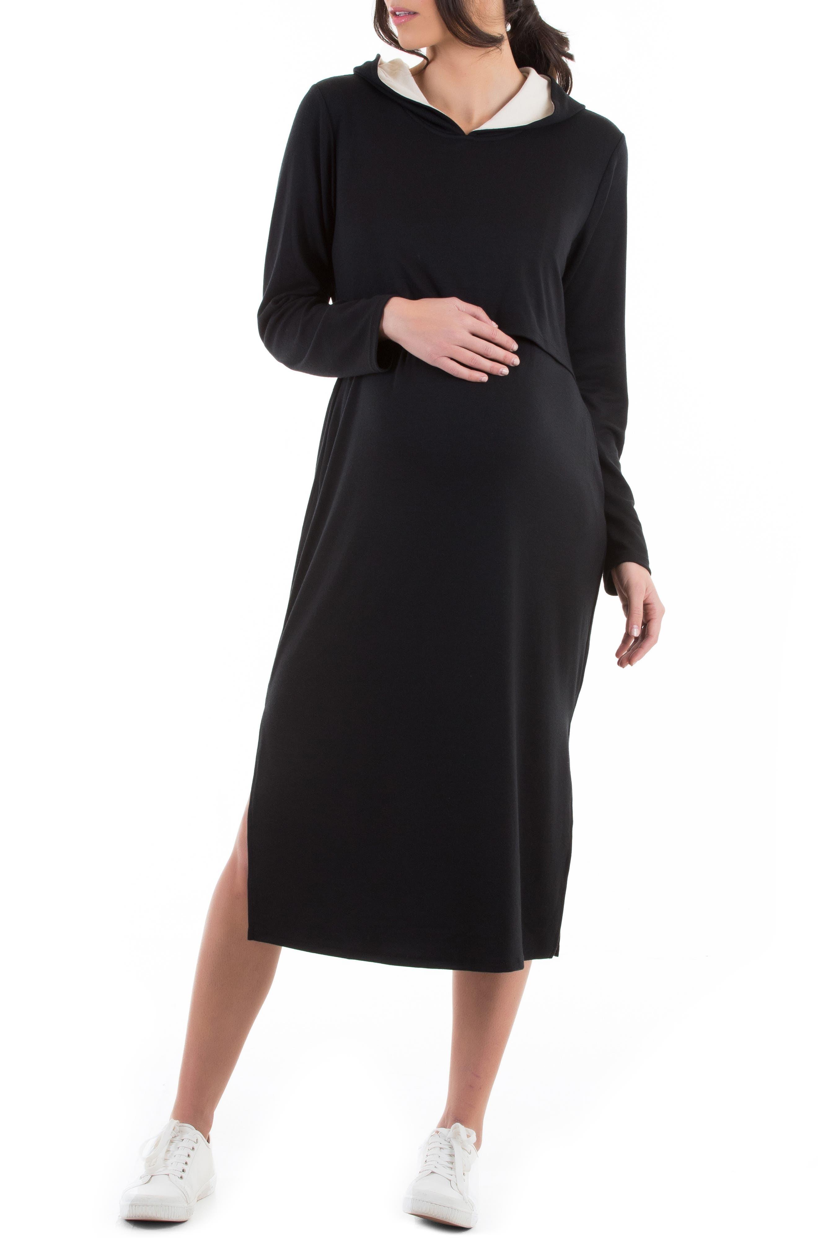Long Sleeve Hoodie Maternity/nursing Dress