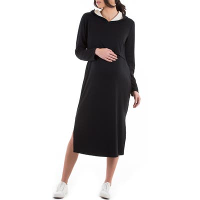 Angel Maternity Long Sleeve Hoodie Maternity/nursing Dress, Black
