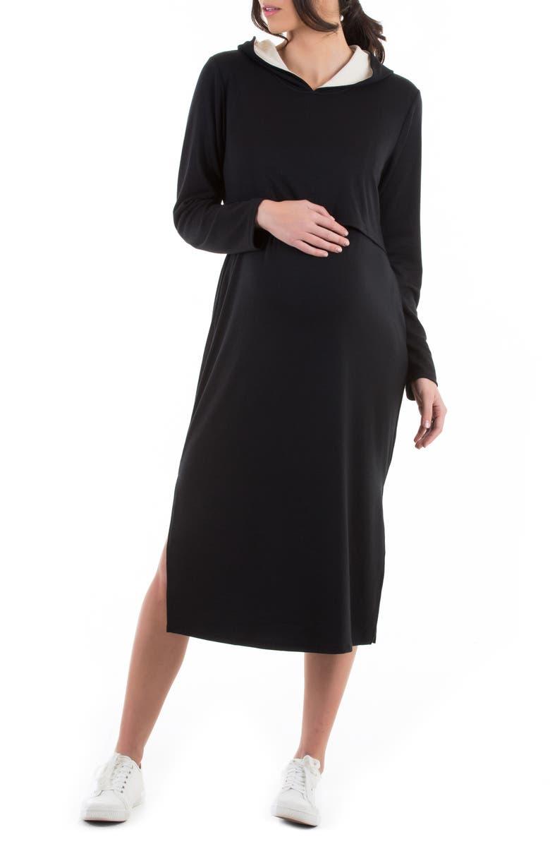 ANGEL MATERNITY Long Sleeve Hoodie Maternity/Nursing Dress, Main, color, BLACK