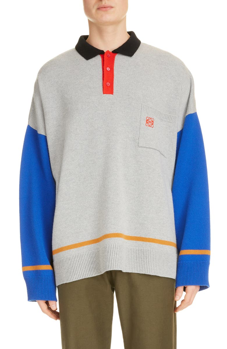 LOEWE Oversize Polo Neck Colorblock Wool & Cashmere Sweater, Main, color, GREY/ BLUE