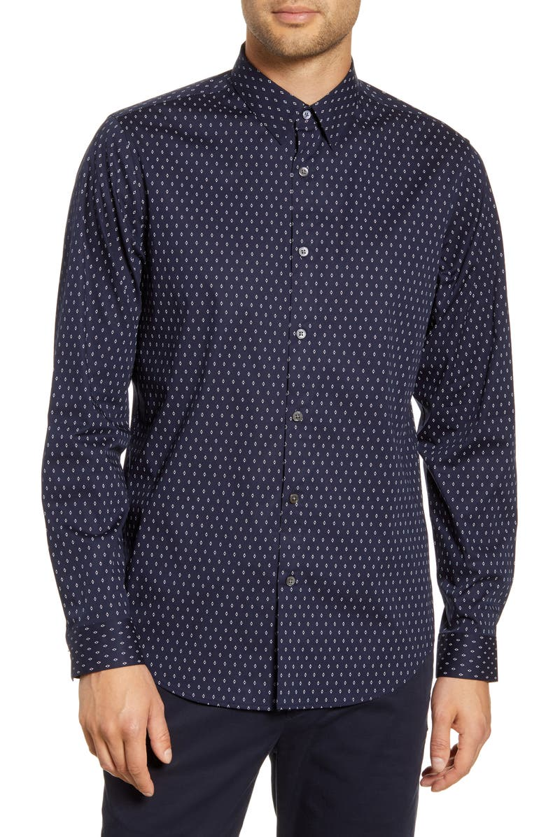 THEORY Irving Diamond Slim Fit Button-Up Shirt, Main, color, ECLIPSE MULTI