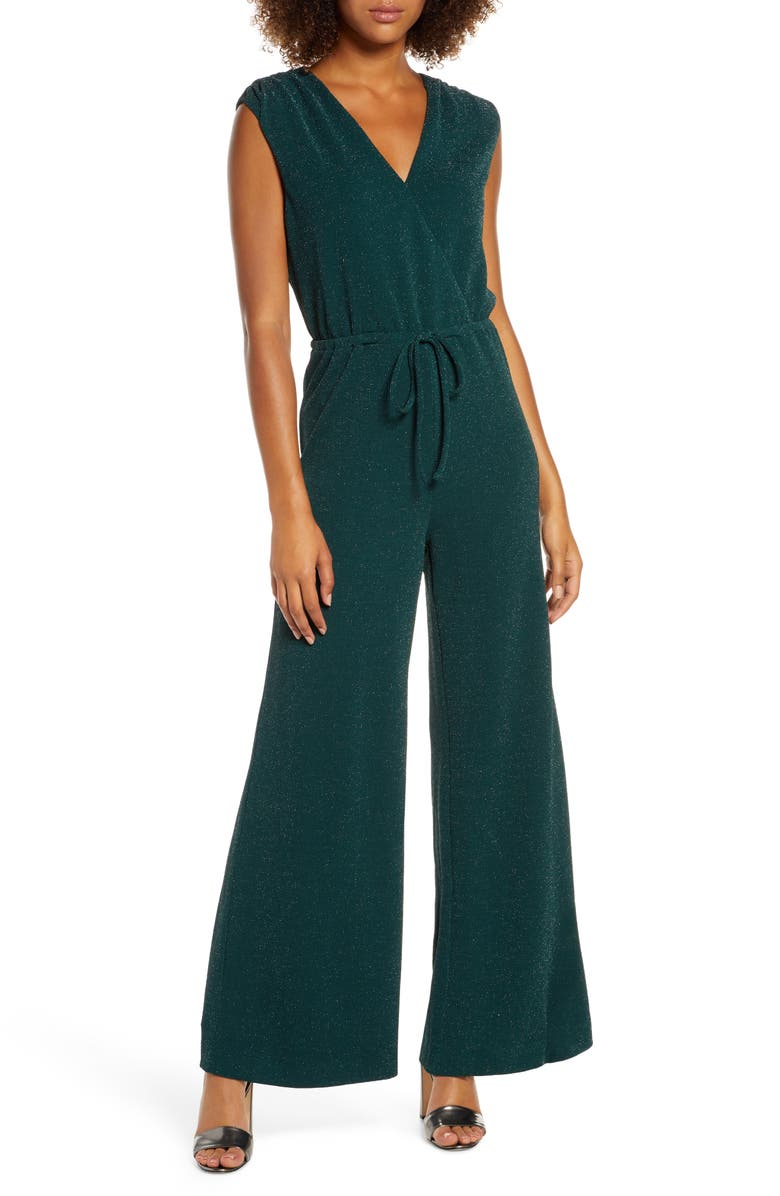 CHELSEA28 Metallic Sleeveless Jumpsuit, Main, color, GREEN LEAF