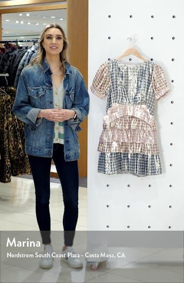 Lucinda Metallic Gingham Silk Blend Minidress, sales video thumbnail