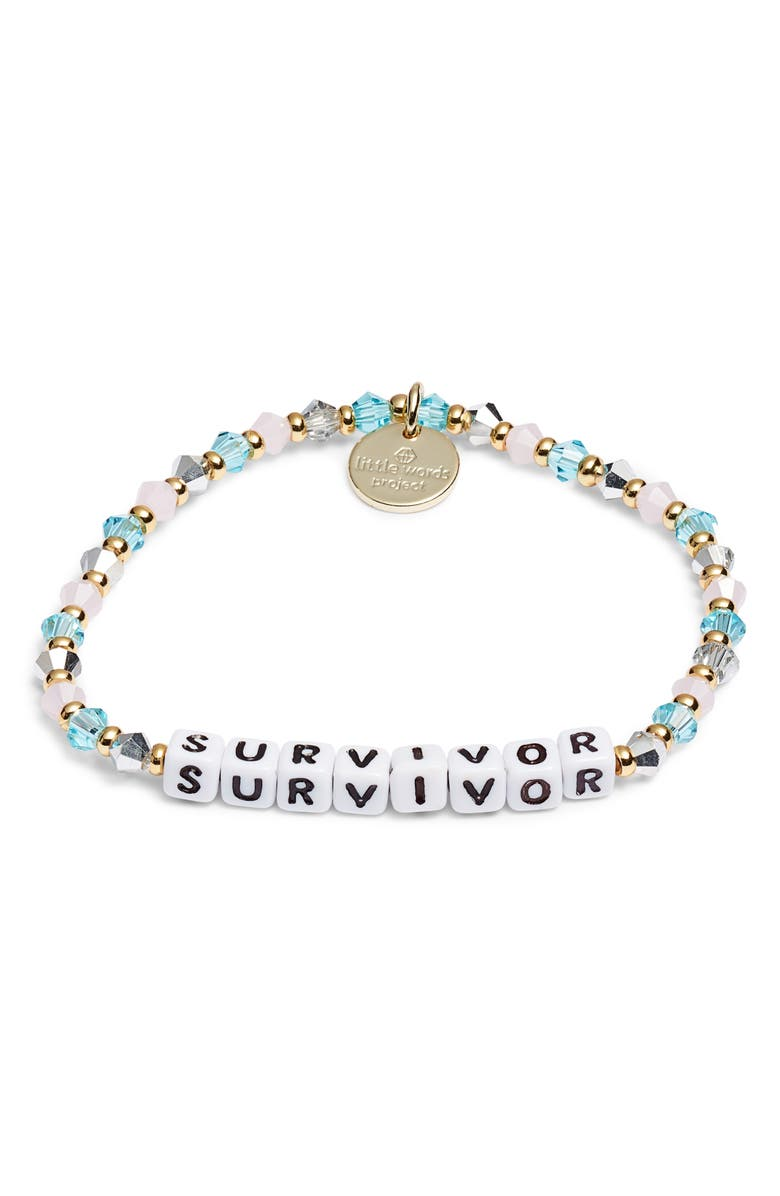 LITTLE WORDS PROJECT Survivor Beaded Stretch Bracelet, Main, color, BLUE/ WHITE