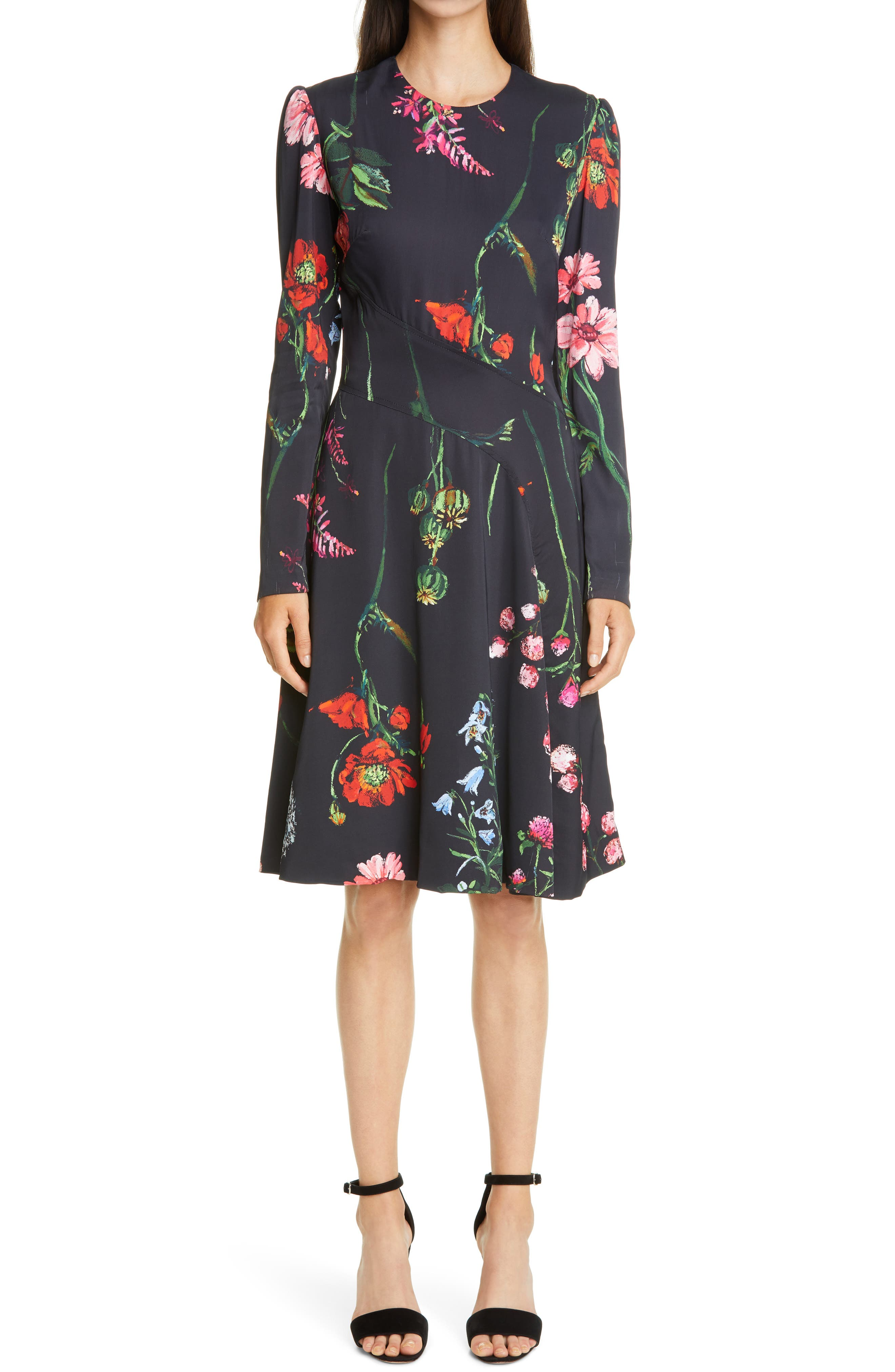 Long Sleeve Seamed Floral Crepe A-Line Dress