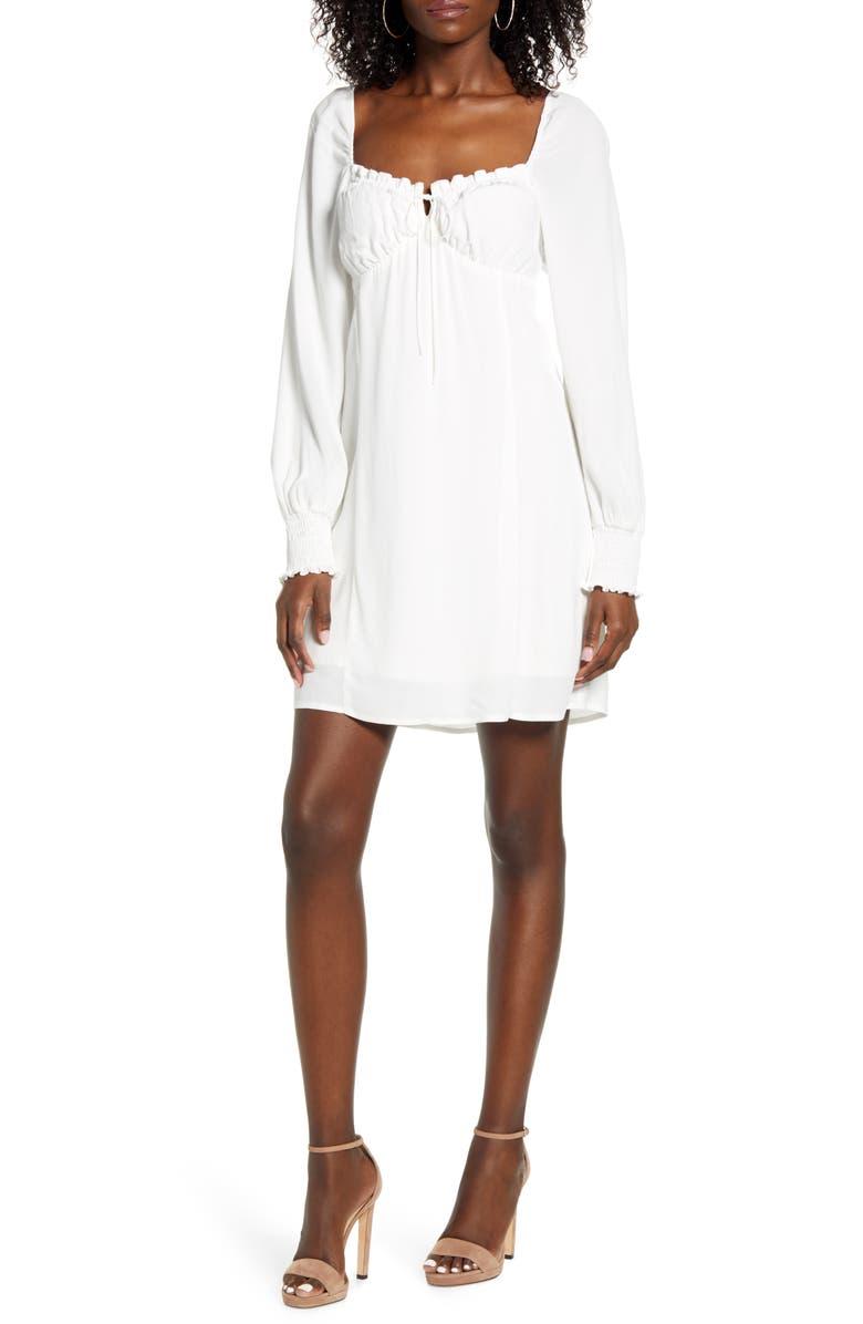 ROW A Smocked Long Sleeve Minidress, Main, color, WHITE