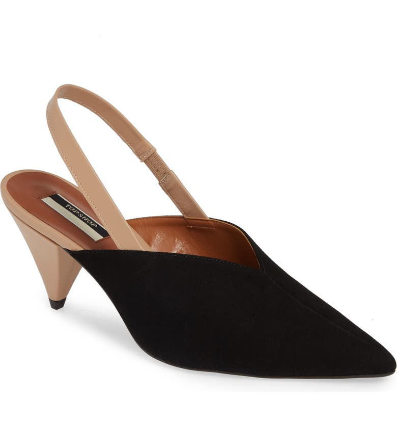 TOPSHOP Slingback Pointy Toe Pump, Main, color, BLACK