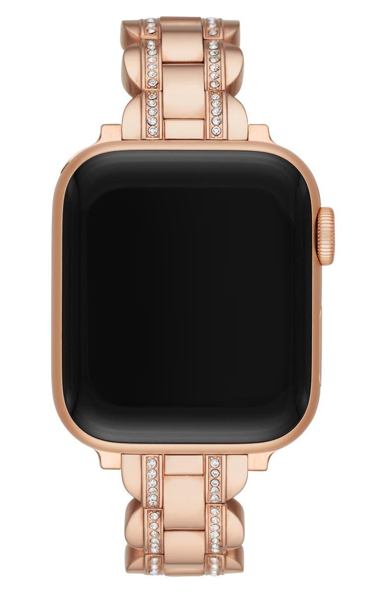 KATE SPADE NEW YORK pavé Apple Watch<sup>®</sup> bracelet, Main, color, ROSE GOLD