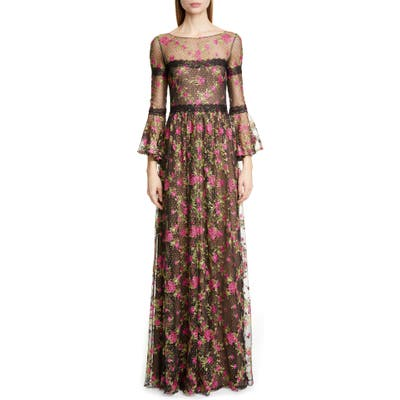Marchesa Notte Embroidered Long Sleeve Gown, Black