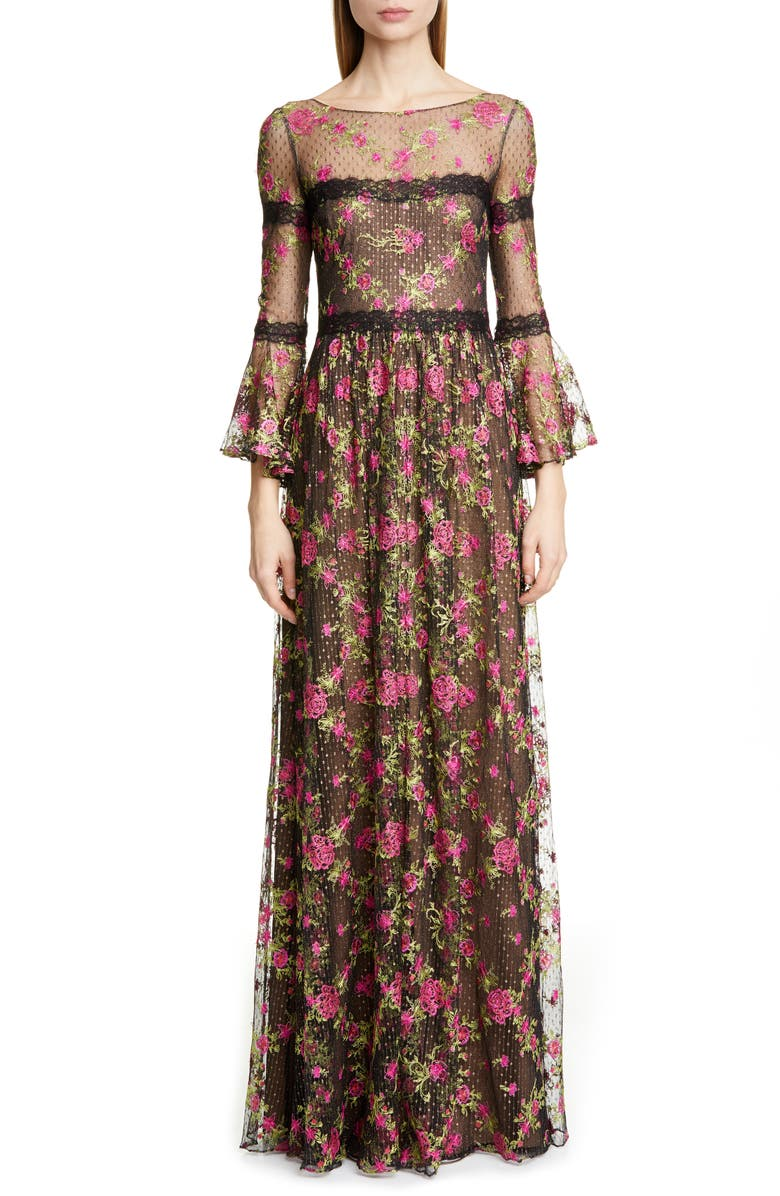 MARCHESA NOTTE Embroidered Long Sleeve Gown, Main, color, BLACK