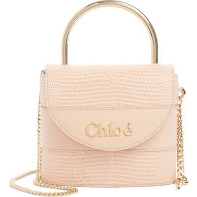 Chloe Small Aby Lock Lizard Embossed Leather Shoulder Bag - Pink