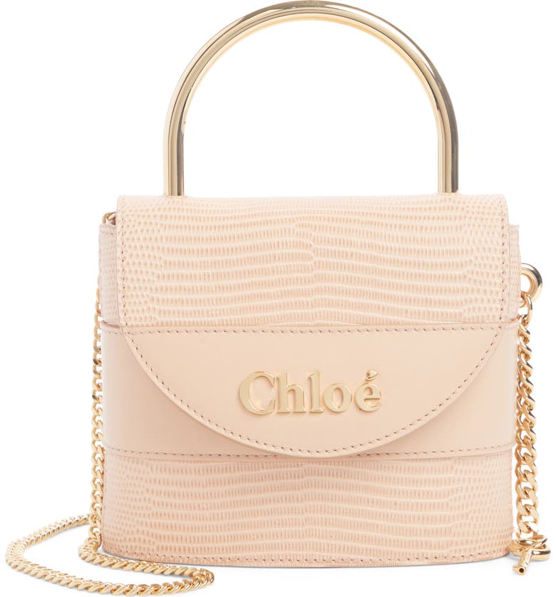 CHLOÉ Small Aby Lock Lizard Embossed Leather Shoulder Bag, Main, color, DELICATE PINK