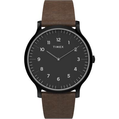 Timex Norway Leather Strap Watch, 40mm