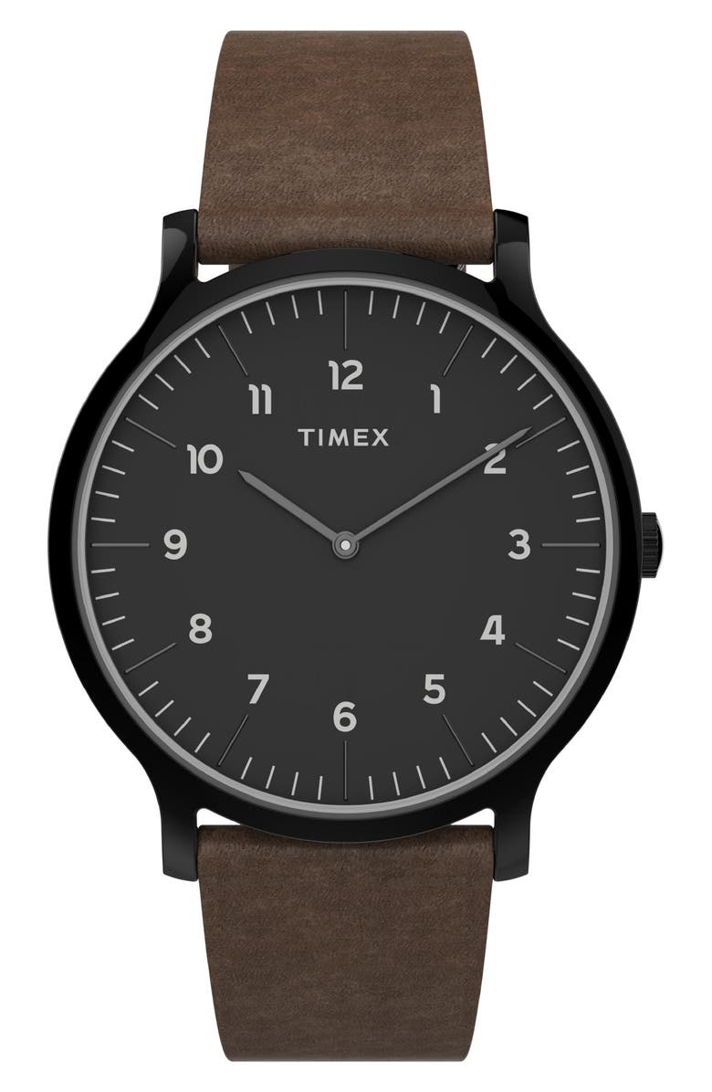 TIMEX<SUP>®</SUP> Norway Leather Strap Watch, 40mm, Main, color, BROWN/ BLACK