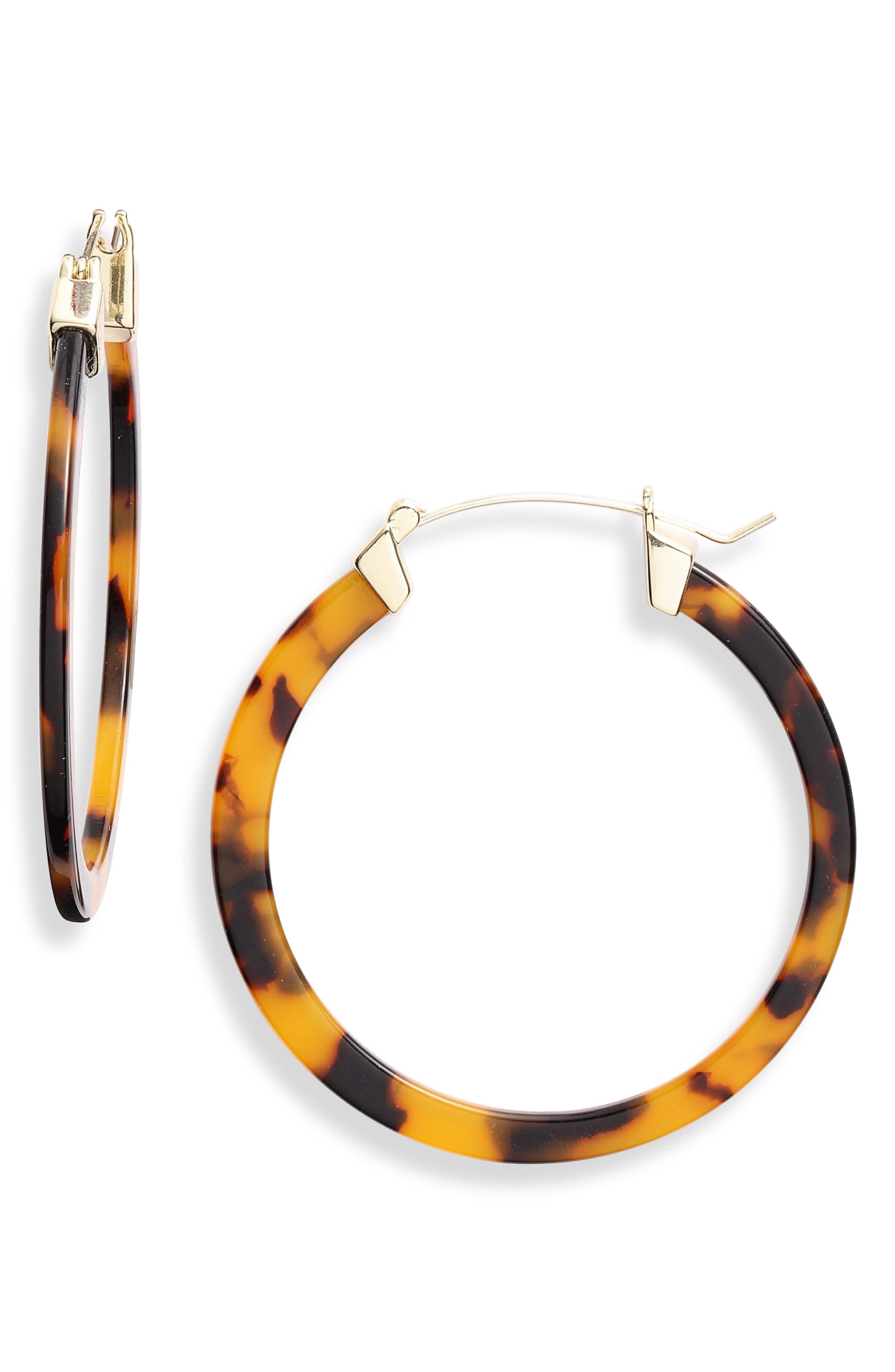 Image of Sterling Forever 50mm Leopard Acetate Hoop Earrings
