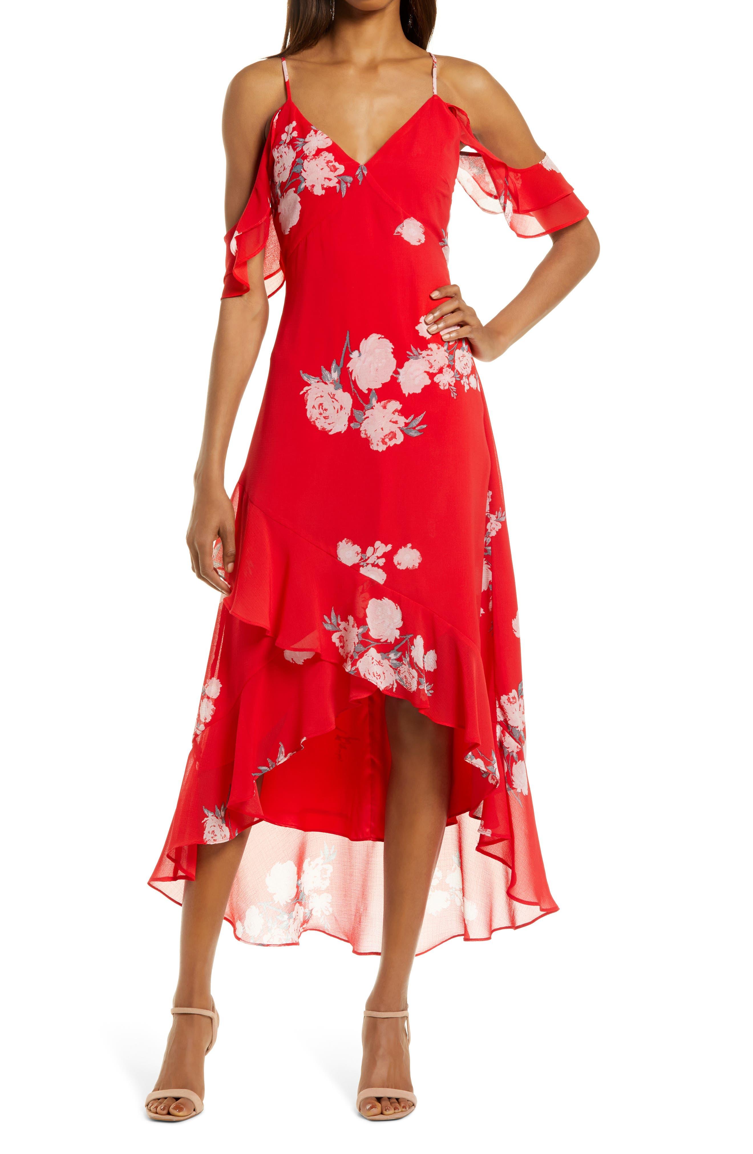 Love In Bloom Floral Cold Shoulder High-Low Dress