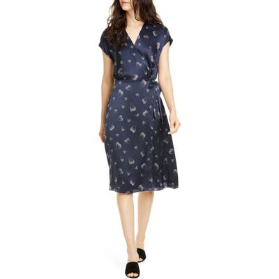 Joie Bethwyn Heart Print Wrap Silk Dress, Blue