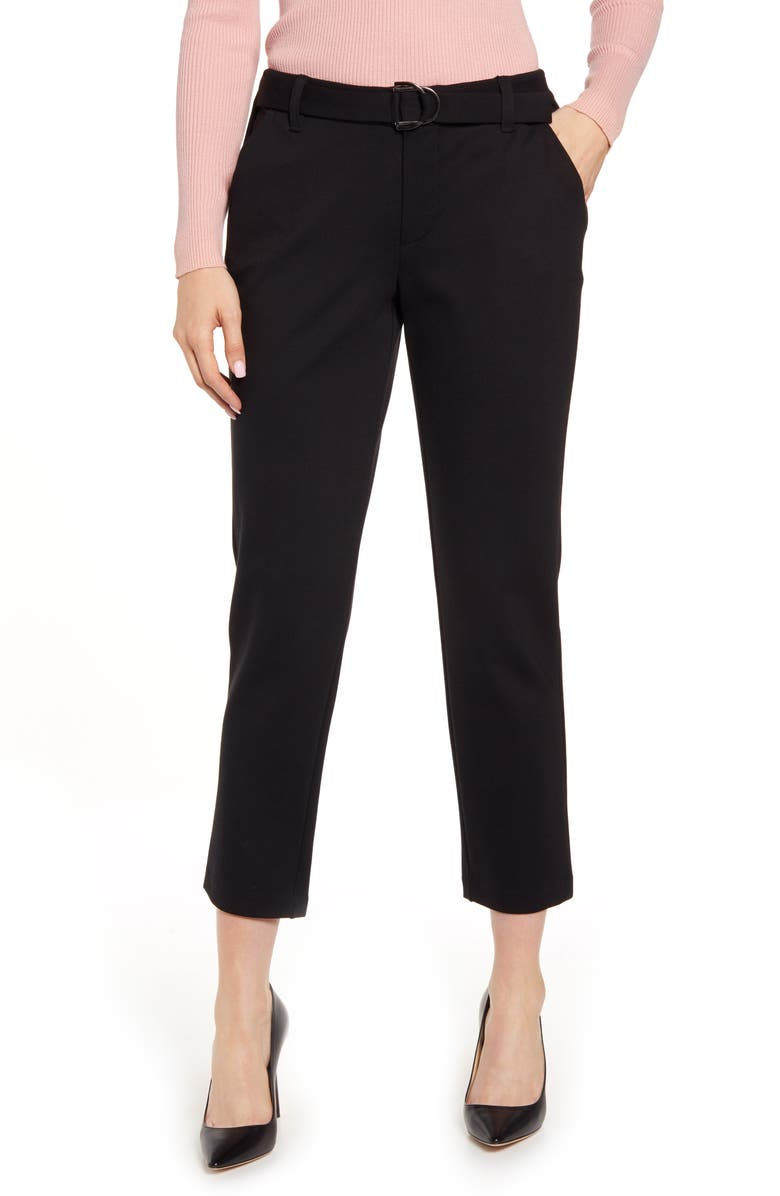 WIT & WISDOM Ab-solution High Waist Crop Pants, Main, color, BLACK