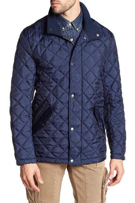 Image of Cole Haan Quilted Ribbed Collar Jacket