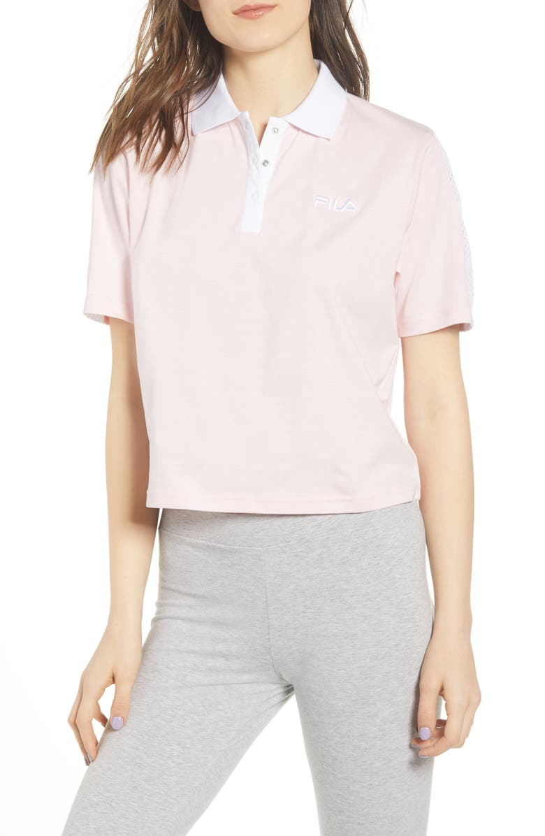 FILA Adiella Mesh Trim Crop Polo, Main, color, PINK CHALK/ WHITE