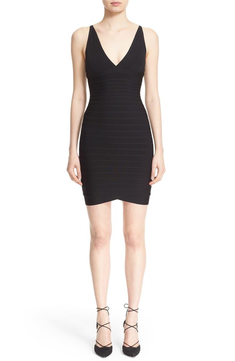 HERVE LEGER V-Neck Bandage Dress, Main, color, Black