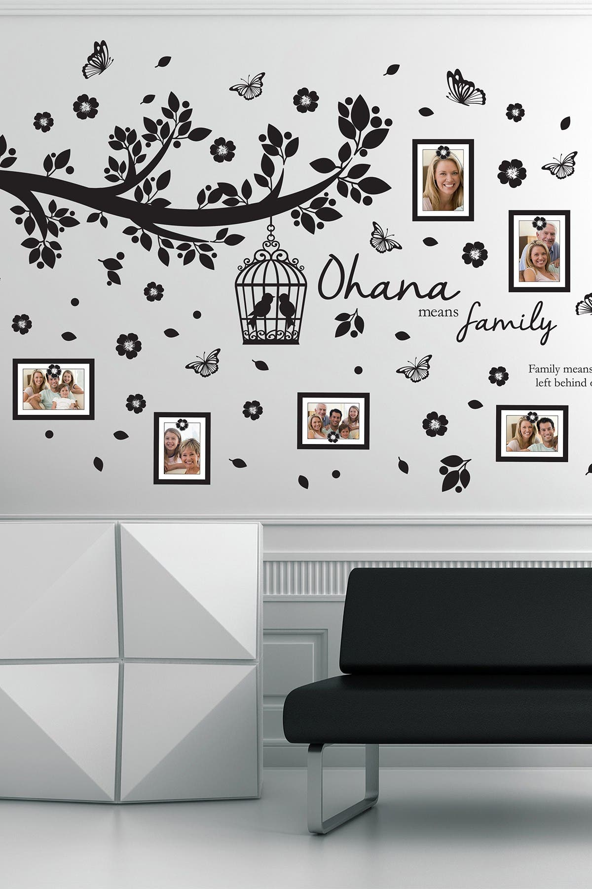 Image of WalPlus Family Photo Tree Black Frame Decal
