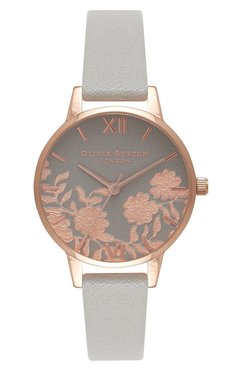 OLIVIA BURTON Lace Detail Leather Strap Watch, 30mm, Main, color, 020