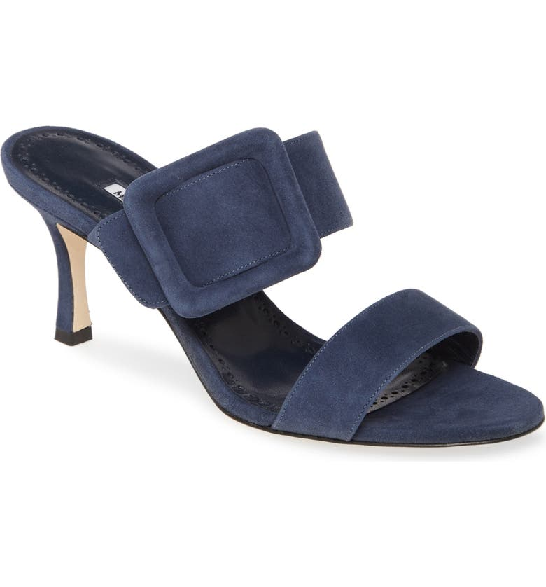 MANOLO BLAHNIK Gable Buckle Sandal, Main, color, DENIM NAVY SUEDE
