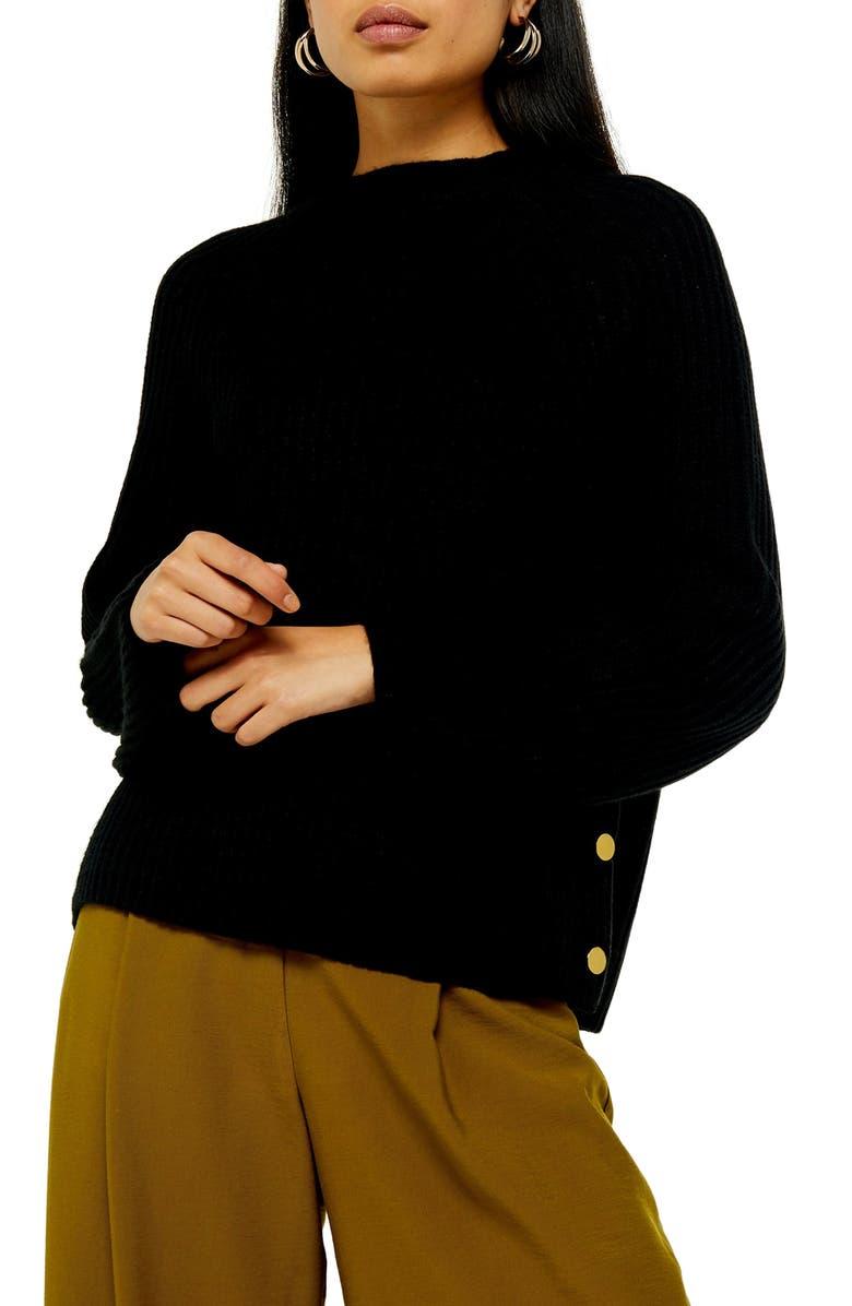 TOPSHOP Side Button Sweater, Main, color, BLACK