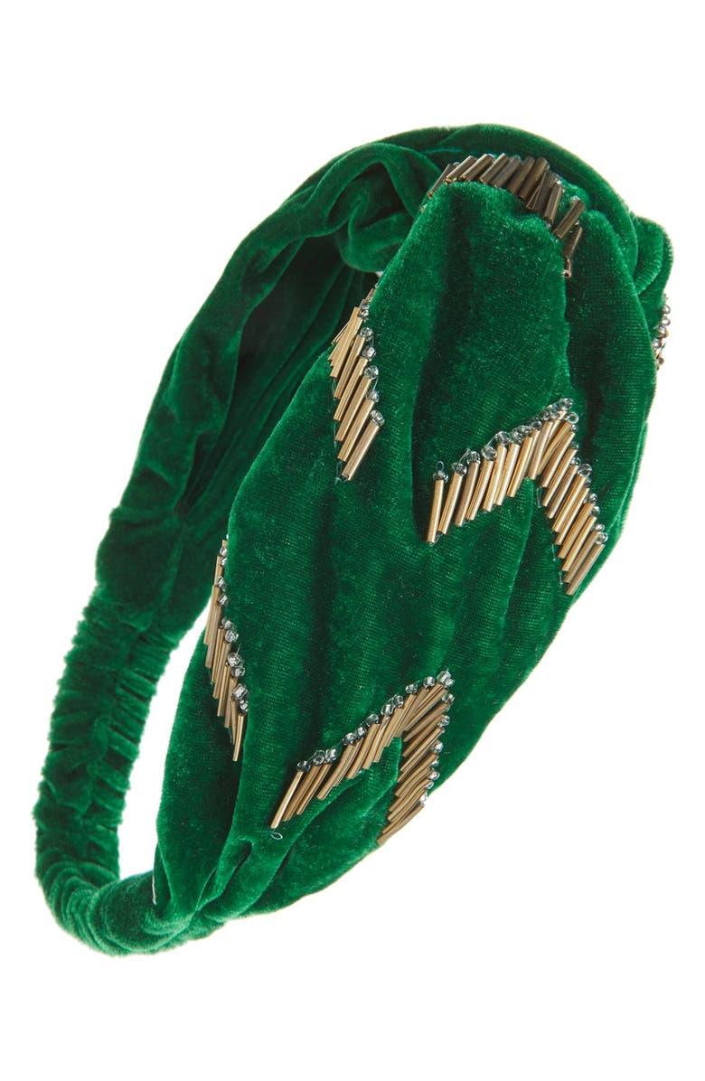 BERRY 'Emerald City' Twisted Velvet Head Wrap, Main, color, 300