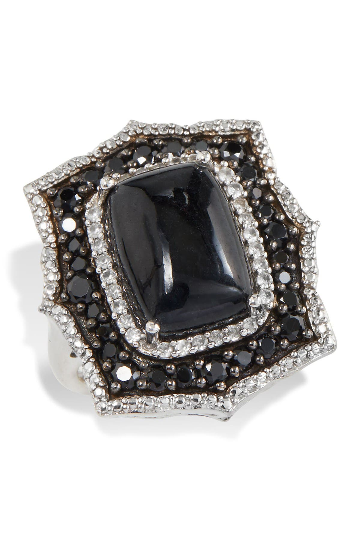 Image of Savvy Cie Sterling Silver Stone & CZ Cocktail Ring