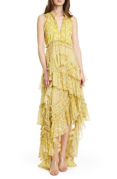 Diane Von Furstenberg CARISSA LEOPARD PRINT CHIFFON TIERED MAXI DRESS