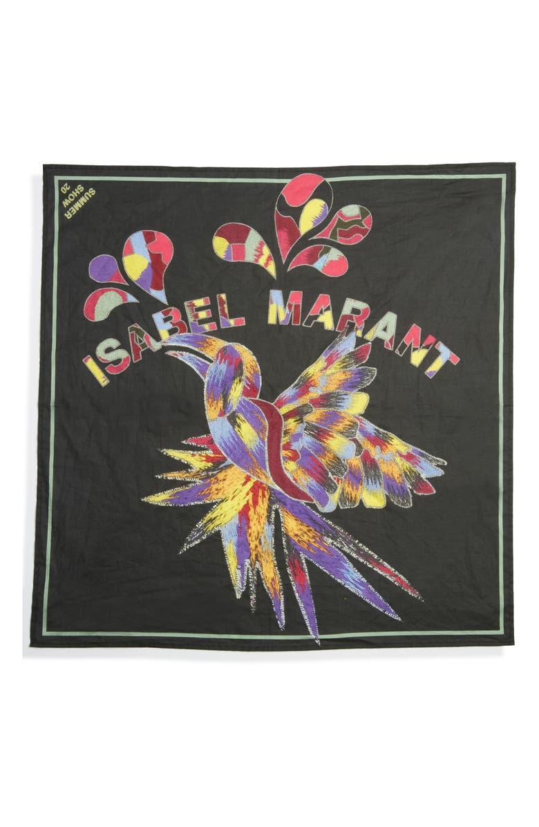 ISABEL MARANT Nakolia Tropicalia Cotton Scarf, Main, color, FADED NIGHT