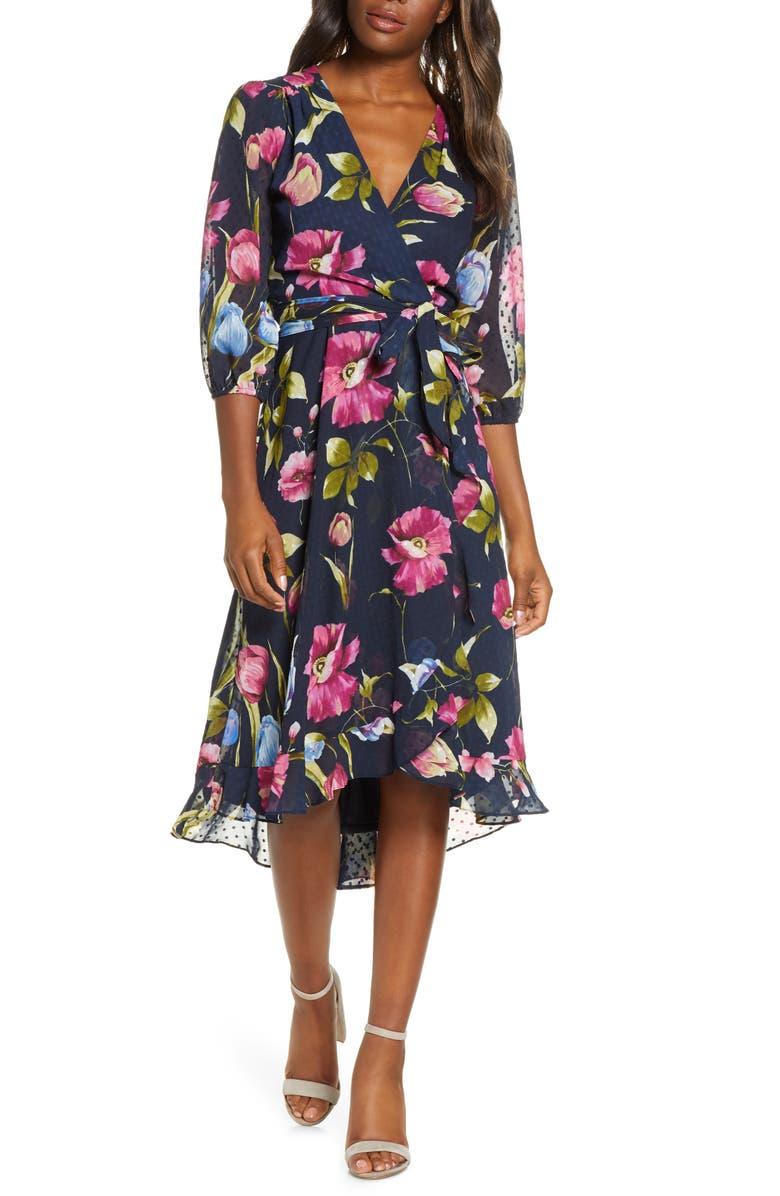 MAISON TARA Minnie Floral Dot Jacquard Dress, Main, color, NAVY/FUCHSIA