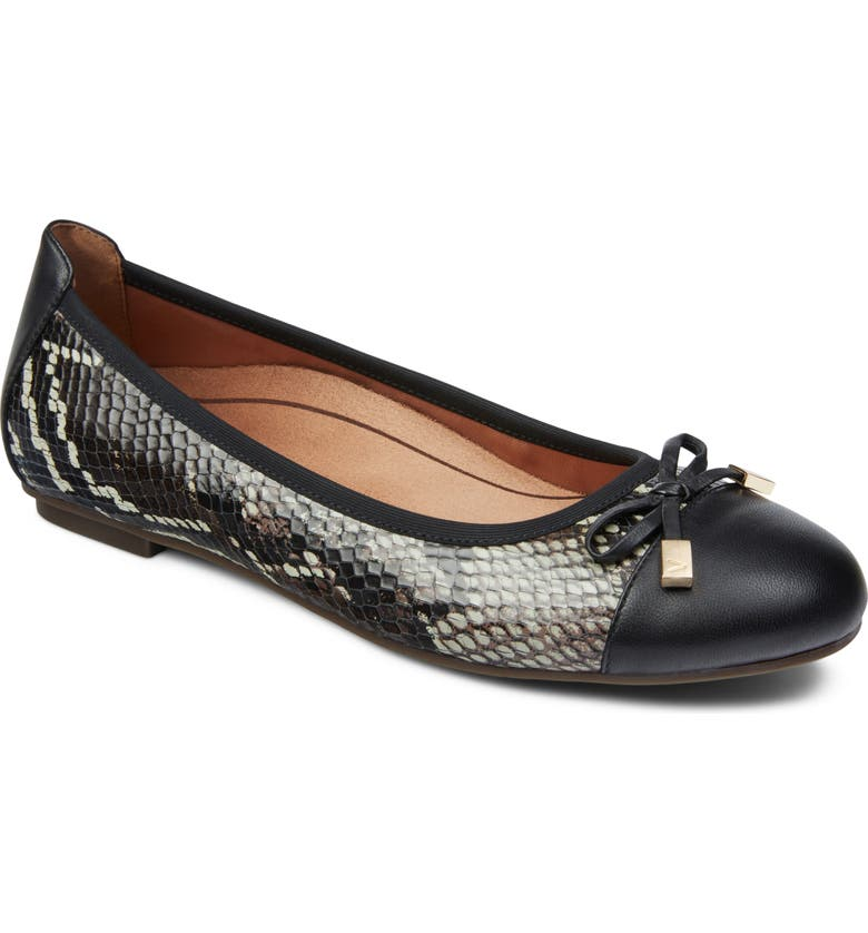 VIONIC 'Minna' Leather Flat, Main, color, BLACK LEATHER/ SNAKE PRINT