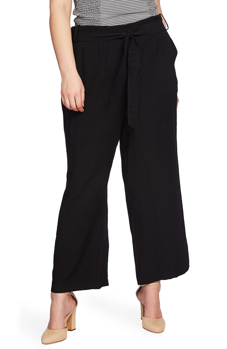 1.STATE Tie Waist Wide Leg Ankle Pants, Main, color, 001