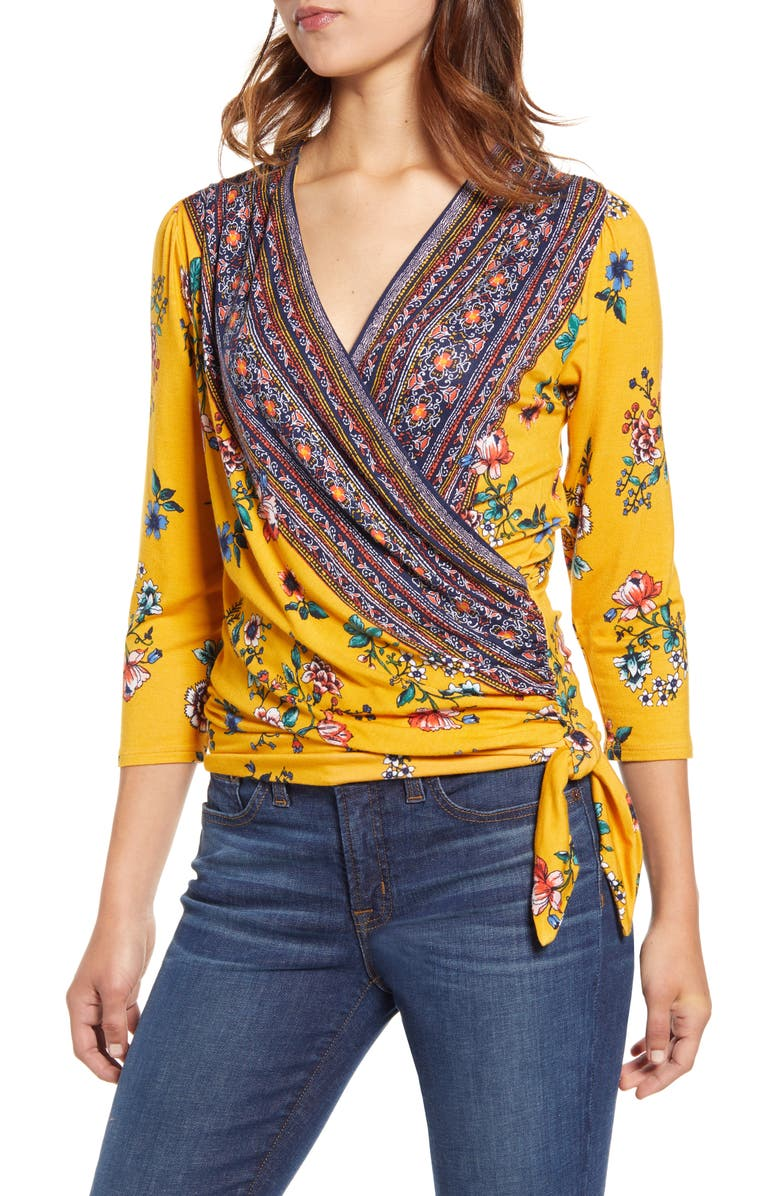 LOVEAPPELLA Faux Wrap Border Top, Main, color, MUSTARD/ NAVY