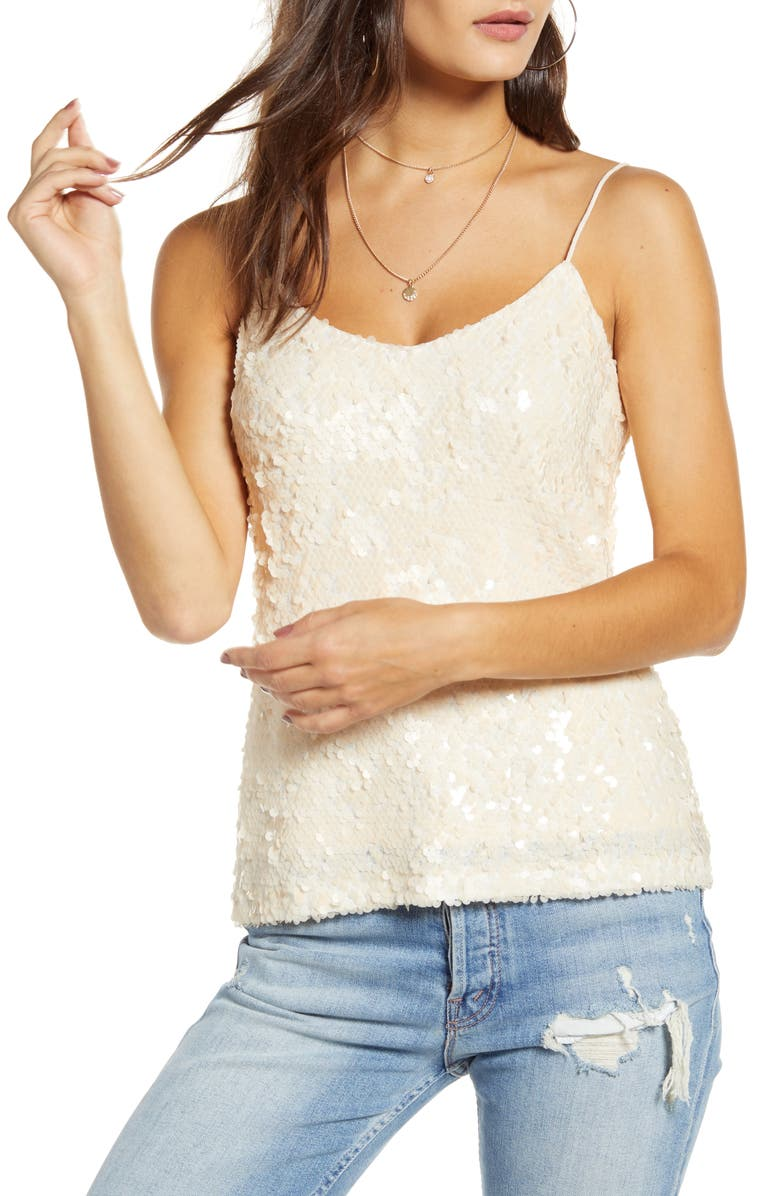 WAYF x Influencers Nashville Sequin Camisole Top, Main, color, PEARL SEQUINS