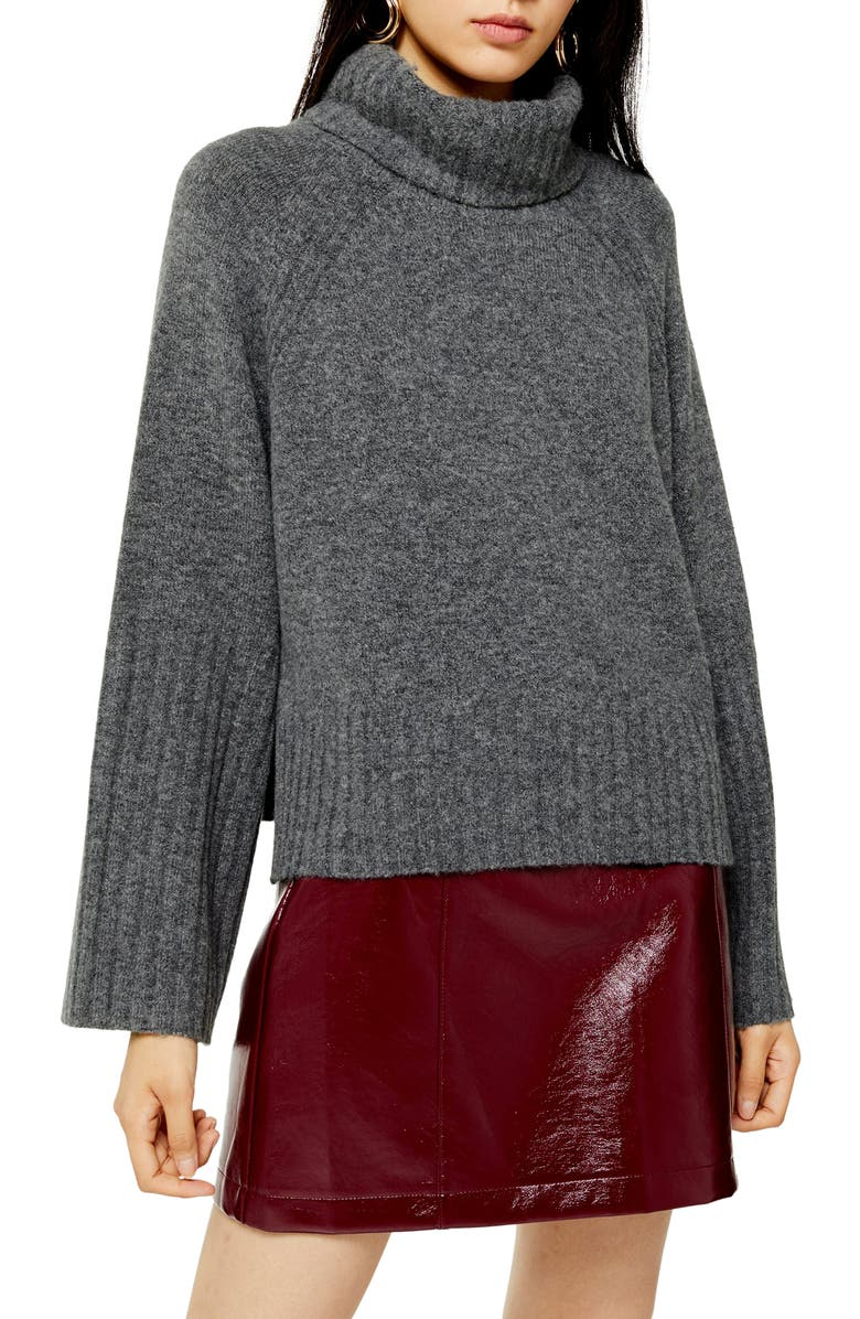 TOPSHOP Roll Neck Sweater, Main, color, CHARCOAL