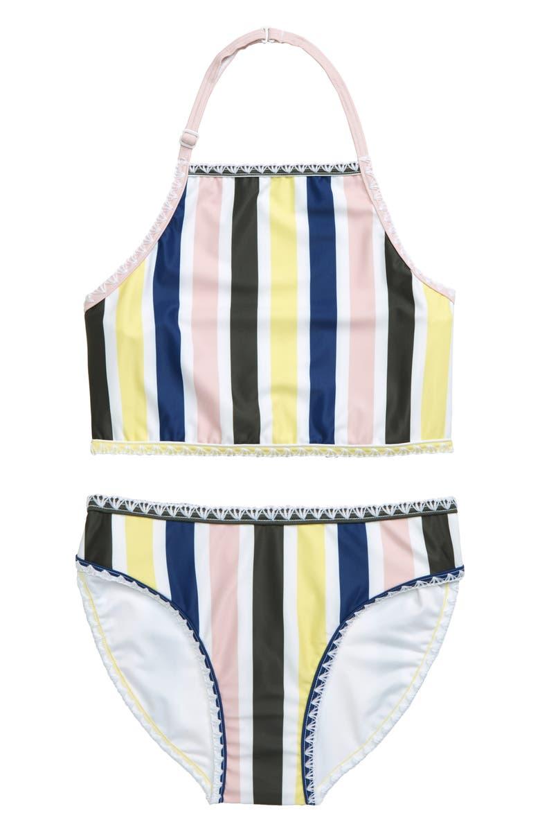 TUCKER + TATE Two-Piece Swimsuit, Main, color, BLUE BIJOU MULTI STRIPE