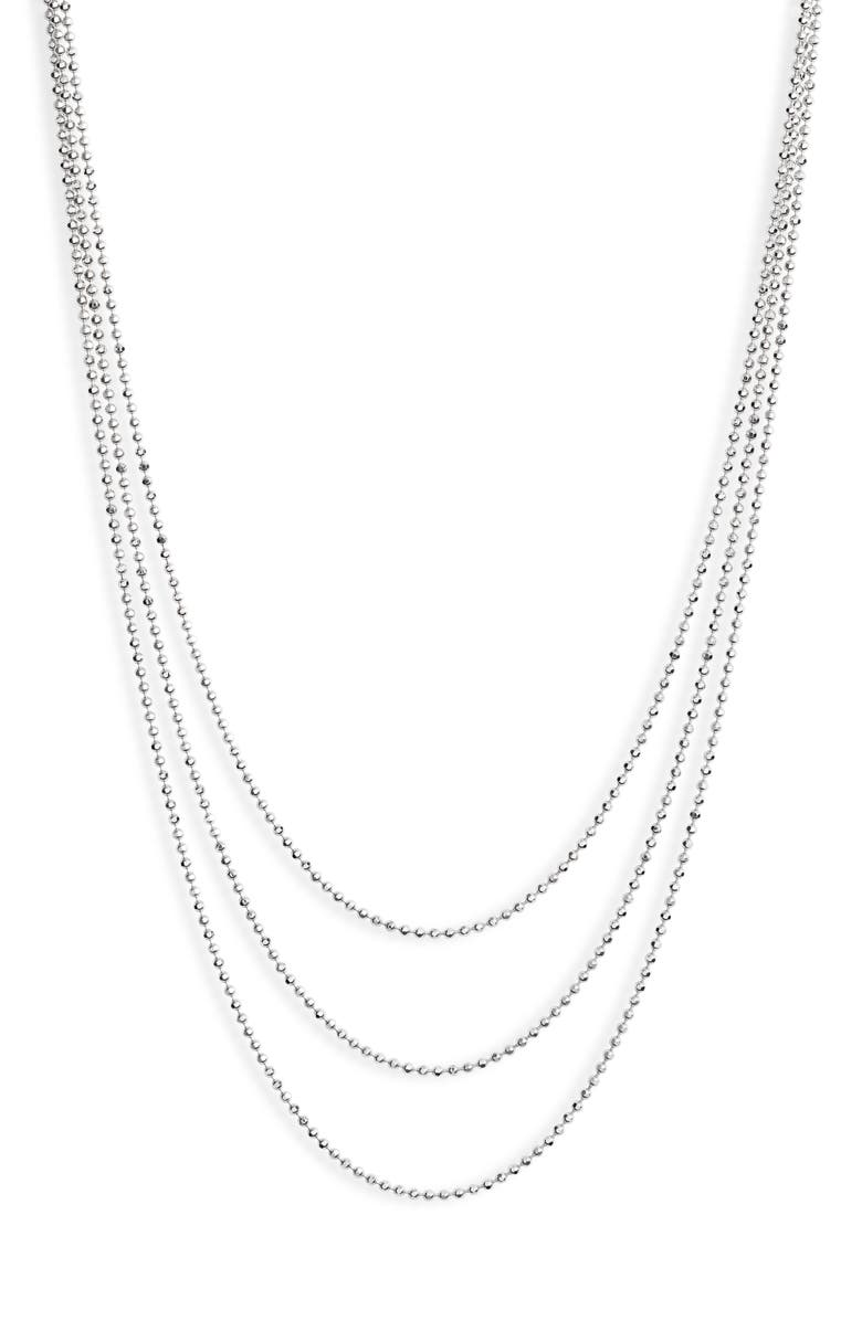 EF COLLECTION Hasson Tripe Layer Chain Necklace, Main, color, WHITE GOLD