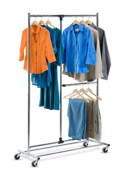 "Image of Honey-Can-Do Dual Bar Chrome 80"" Adjustable Garment Rack"